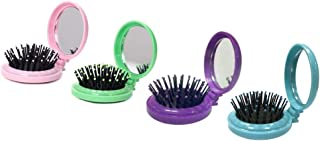 Louise Maelys Colorful Folding Hair Brush with Mirror Pop up Hair Comb for Purse Mini Pocket Hair Brush 4 piece
