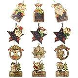 Juego de decoración de árboles de Navidad,12 piezas de adornos de pizarra lindos de madera...