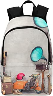 Old-Fashioned Gramophone Turntable Casual Daypack Travel Bag College School Backpack for Mens and Women