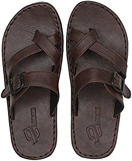 Emosis Men's Slipper Cum Sandal - Latest & Stylish Synthetic Leather - for Outdoor Formal Office Casual Ethnic Daily Use - Available in Tan Brown Black Color - 0222M