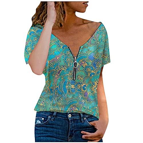 URIBAKY - Camicia da donna a maniche corte, con scollo a V e tasca a quadretti, a maniche lunghe, con stampa Streetwear, A verde, XXL