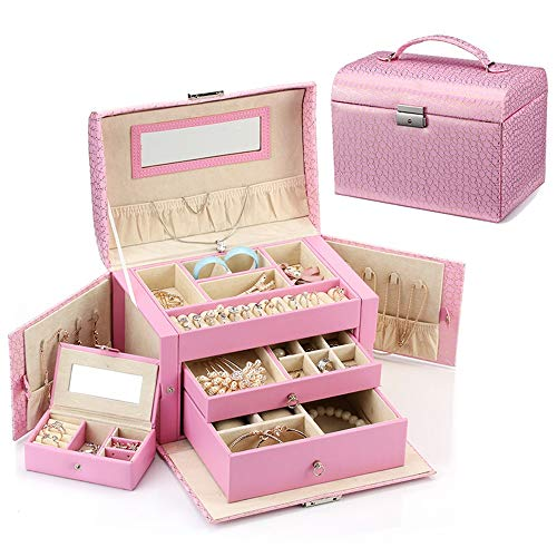 Zhicaikeji Estuche cosmético para mujer, caja de almacenamiento perfecta para guardar objetos pequeños, bolsa de almacenamiento de cosméticos PortBle (color rosa