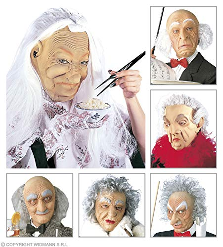Old Character Mask with Hair 6 Styles Old & Elderly Masks Eyemasks & Disguises for Masquerade Fancy Dress Costume Accessory