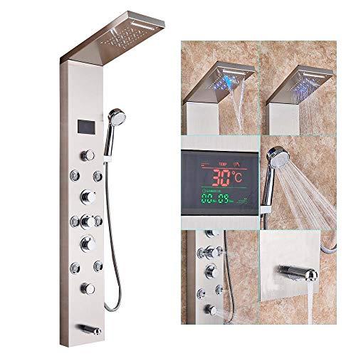 Rozin LED Dusche Turm Wasserhahn mit Temperatur Bildschirm Niederschlag Wasserfall Duschkopf Handsprüher Massage Jet Tub Filler Auslauf 5 Funktionen Edelstahl gebürstet Nickel Duschpaneel