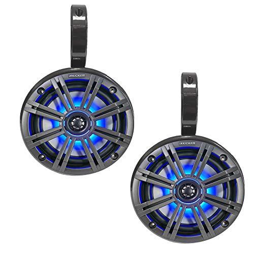 Galaxy Bullet - Set mit Lautsprechergehäuse (einzeln) und Lautsprecher mit LED-Licht von Kicker - für Boot- & Wakeboard-Tower - Dunkelgrau
