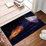 QDYLM Alfombra de baño de Microfibra esponjosa,Disparar Baloncesto Vuela a la Canasta con Fuego alfombras de Ducha de Suave Absorbente de Agua, 40x60 cm
