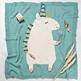 Tiny Alpaca Manta de punto para bebé, diseño de unicornio, suave y cálida,...