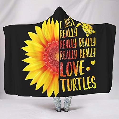 BOBONC Love Turtles Printed Home Tapisserie Hooded Blanket Soft-Mantel Wohndecke Kuscheldecke Schlafdecke TV Computer Kapuze Mantel Für Erwachsene Oder Kinder White 150x200cm