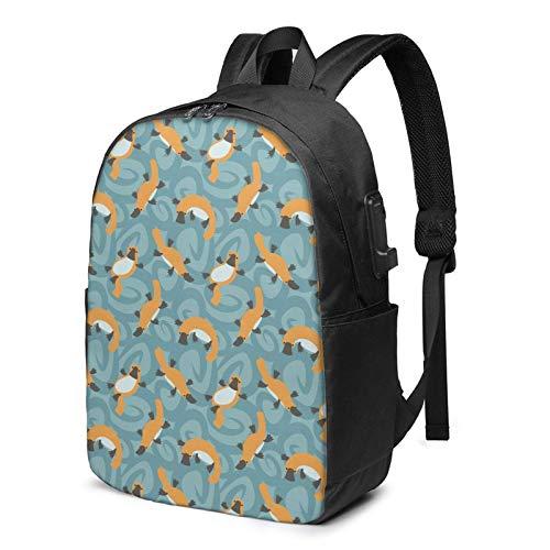 Travel Laptop Rucksack, Platypus Cute Travel Laptop Rucksack College School Tasche Casual Daypack mit USB-Ladeanschluss