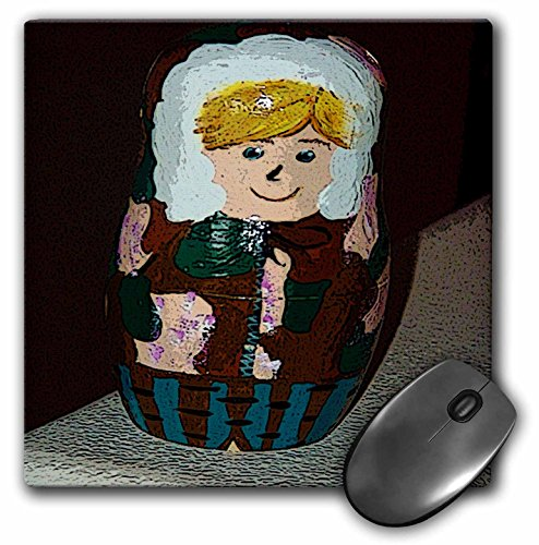 3dRose LLC Mauspad, 20,3 x 20,3 x 0,6 cm, russische Stapelpuppe, bemalt als EIN Junge in einem Parka von Camouflage in Braun und Grün mit blondem Haar (mp_48308_1)
