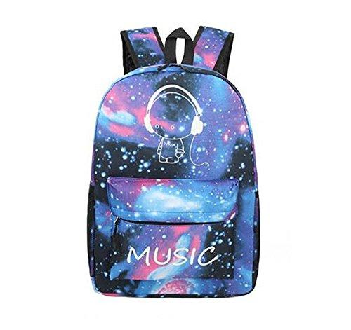 Zaino unisex casuale blu della galassia dell'universo e borsa zaino di corsa della spalla zaino musica Stampa modello oxford fluorescente panno