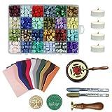 600 perlas de sellado octogonal, 10 sobres, 1 horno, 1 cuchara de cera, 4 velas de té, 2 lápices de pintura y 1 árbol de sello de cera (B).