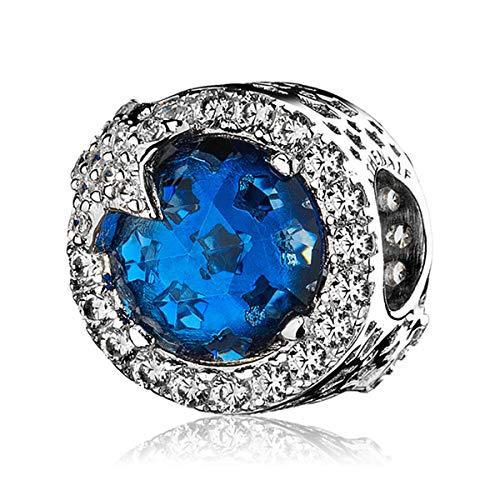 ATHENAIE - Abalorio de Plata de Ley 925, diseño de Estrella, Color Azul Claro y crepúsculo