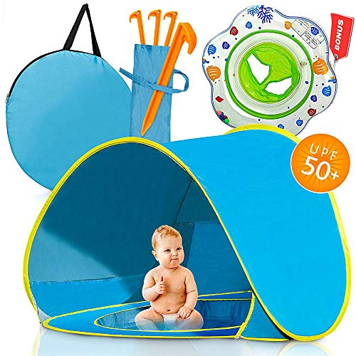 HWLY Baby Tent for Beach. Best Price .: Pop Up Sun Shelter for Children with Mini Pool and Shade Removable for Playing and Down, UV Protection 50 SPF Cooling, Lightweight with Carrying Bag