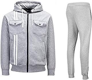Mens Sports Athletic Tracksuit 2 Piece Set Jogging Zipper Jacket Sportswear