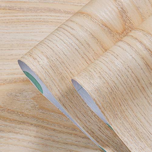 Olymajy adesivos para Muebles, Envoltura de Vinilo de Madera, 3 MX 40 cm Pegatinas Autoadhesivas para Muebles, Rollo de Papel Tapiz Decorativo Impermeable para Bricolaje para encimera(Marrón Claro)