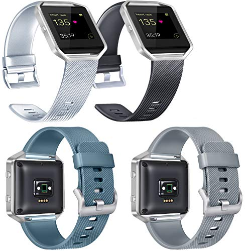 Vancle Replacement Bands Compatible with Fitbit Blaze Women Men, Classic Silicone Straps for Fitbit Blaze Smart Watch, Silver, Black, Slate, Gray, Large