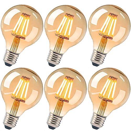 Edison Vintage Glühbirne, E27 4W Edison LED Lampe Retro Glühbirne Vintage Antike Glühbirne Ideal für Nostalgie und Retro Beleuchtung im Haus Café Bar usw (6 Stück)