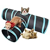 Dono Cat Tunnel Toy - Pet Puppy Tube Fun Play Toy with Peep Hole Collapsible 3-way Interactive Wand and Ball Activity Foldable Tunnel Toy for Kitten, Rabbits,Hamster,Small Dogs