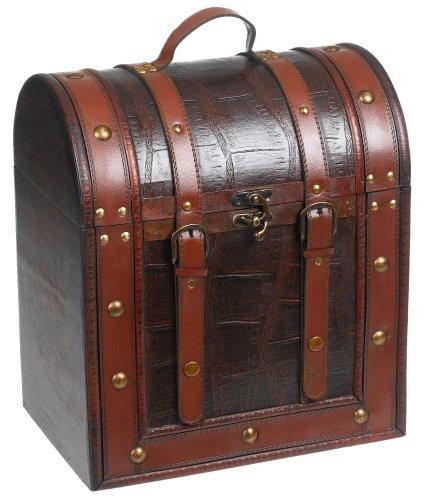 Chateau 6 Bottle Antique Wooden Wine Box by Twine