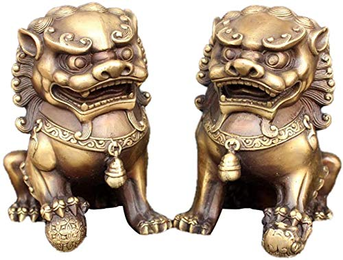 HYBUKDP Estatuas Las estatuas de Beijing leones Par Fu Foo Perros (un par), latón puro chino Chinese ornaments Decoración prosperidad Accesorios Figura, retro Inicio y Escultura Oficina Escultura de l