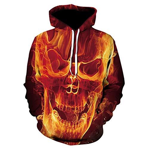 GEZIBABA sweatshirt met capuchon, bedrukte trui met doodskop, Halloween, voor heren, lange mouwen met 3D-capuchon