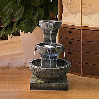 PeterIvan Outdoor Waterfall Fountain - Relaxing Soothing Outdoor Fountains for The Garden&Patio with LED Lights and Charming Outdoor Water Feature