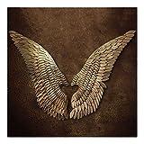 PoJu Golden Wing Sculpture decoración de la pared, un par alas de ángel Vintage Loft de hierro forjado Garden Bar café Navidad colgantes de pared esculturas (Size : Large)