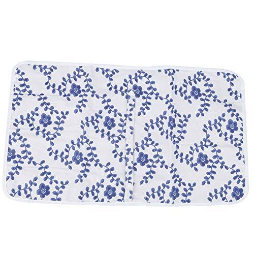 Materassino per urina del bambino, materassino per fasciatoio portatile per materasso lavabile Materassino per pannolini riutilizzabile per neonato(Piccoli fiori blu)