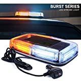 Xprite COB LED White Amber/Yellow Roof Top Warning Strobe Light 19 Flash Modes w/Magnetic Base Mini Beacon Lights Bar for 12V Hazard Emergency Construction Vehicles Snow Plow Trucks Bus