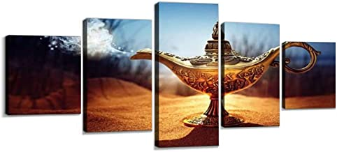 Skipvelo Magic aladdins Genie lamp Smoke Moneys and Pictures Wall Art Canvas Prints Pictures Paintings Artwork Home Decor Stretched and Framed - 5 Pieces
