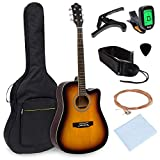 Best Choice Products 41in Full Size Beginner Acoustic Cutaway Guitar Kit Set w/Padded Case, Strap, Capo, Extra Strings, Digital Tuner (Sunburst)