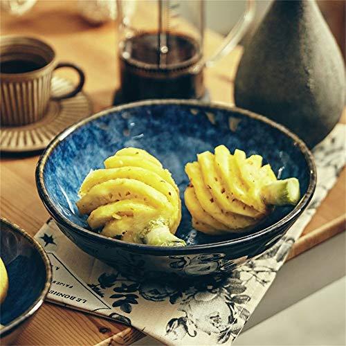 LIXUE Mélange à salade de fruits Grand bol à soupe Ramen Noodle Bowl Créative vaisselle irrégulière en céramique Four à micro-ondes Safe Sea Blue (Taille : 8 inches)