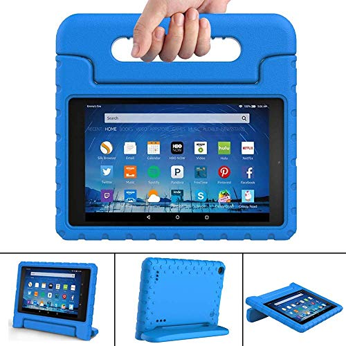 FINDING CASE for All-New Amazon Fire 7 with alexa Tablet Case(9th & 7th & 5th Gen,2019 & 2017 & 2015 Release) -ShockProof Handle Foam Stand Protective Cover for fire 7 ' Tablet blue