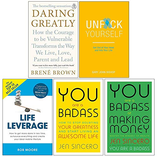 Daring Greatly, Unfck Yourself, Life Leverage, You Are a Badass, at Making Money 5 Books Collection Set