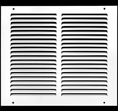 "12""w X 10""h Steel Return Air Grilles - Sidewall and Ceiling - HVAC Duct Cover - White [Outer Dimensions: 13.75""w X 11.75""h]"