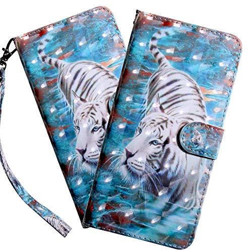 HMTECH LG K50 Hülle,Für LG Q60 / LG K50 Handyhülle 3D weißer Tiger Flip Hülle PU Leder Cover Magnet Schutzhülle Tasche Ständer Handytasche für LG Q60 / LG K50,BX White Tiger