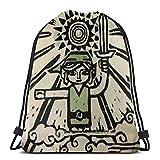 WH-CLA Cinch Bags Wind Waker Anime Men Women Unique Print Travel Printed Casual Sport Bag Yoga Sport Gym Sack Outdoor Gym Ligero Mochila con Cordón Cinch Pack Compras Bolsas con Cordón Du