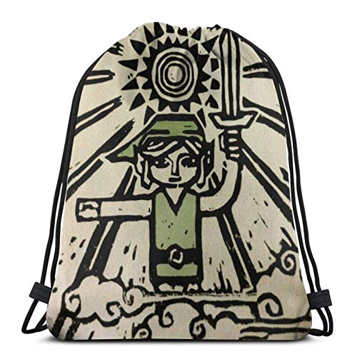 WH-CLA Cinch Bags Wind Waker Anime Men Women Unique Print Travel Printed Casual Sport Bag Yoga Sport Gym Sack Outdoor Gym Ligero Mochila con Cordón Cinch Pack Compras Bolsas con Cordón Du