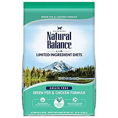 Natural Balance L.I.D. Limited Ingredient Diets Dry Cat Food, Green Pea & Chicken Formula, 2 Pounds, Grain Free