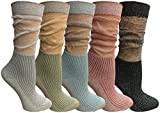 Yacht&Smith 5 Pairs Ruffle Slouch Socks for Women, Unique Frilly Cuff Fashion Trendy Ankle Socks (5 Pairs Ribbed) -  Yacht & Smith
