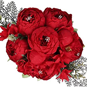 Fake Peonies Faux Flower Vintage Artificial Peony Silk Flowers Arrangement Bouquets for Home Table Centerpieces Wedding Party Decoration (Spring Red)