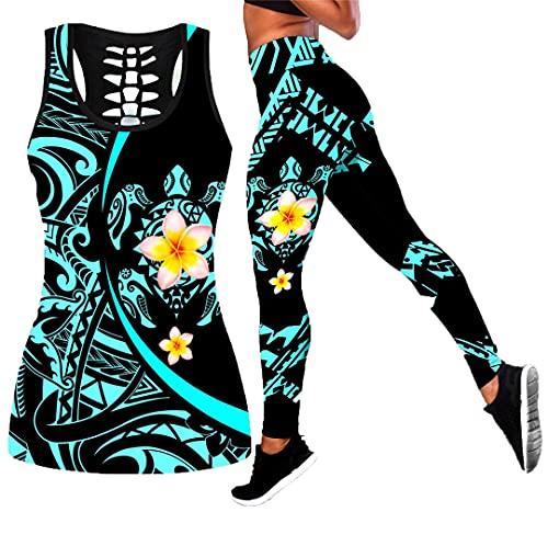Tatuaje de Tortuga y Flor Leggings Estampados en 3D y Camiseta sin Mangas - Leggings Ajustados elásticos sexys para Mujer Legging Tank Top 3XL