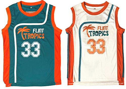 Jackie Moon #33 Flint Tropics Semi Pro Movie Retro Throwback Basketball Jersey Embroidery S-XL (Medium, White)