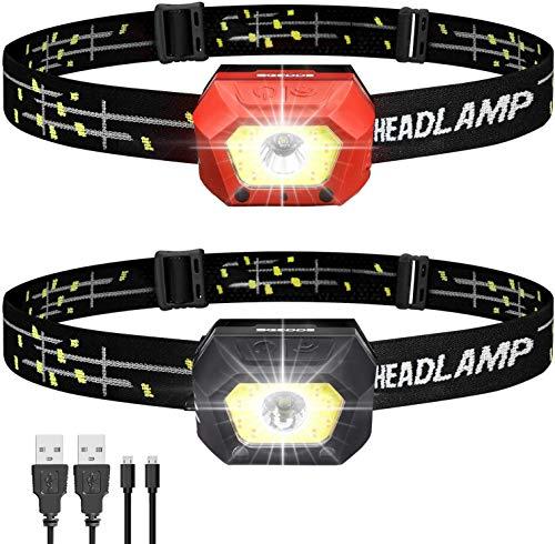 ヘッドライト 充電式 led ヘッドランプ SGODDE IPX65防水 2個セット 暖色 高輝度 センサー機能 長押し機能 500ルーメン 超軽量 角度調整可 釣り 登山 キャンプ 散歩 アウトドア 災害 停電用 (黒赤)