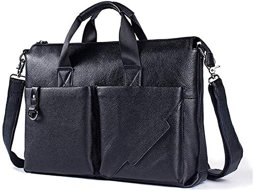 SHENGDAFASHANGCHENG Leather Briefcases for Men , Soft, Full Grain Leather Laptop Bag for Men W/Hand Stitching That Will Last A Lifetime Slim But Spacious