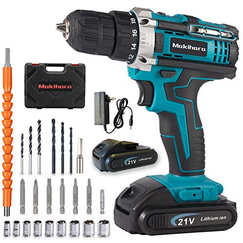 Makihara 20V MAX Lithium Ion Cordless Drill, Power Drill Set with 3/8 inches Keyless Chuck, Variable Speed, 18+1 Position and 22pcs Drill/Driver Bits (Blue)