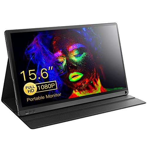 """Monitor Portatile, 15,6"""" Full HD Display USB C Portatile Schermo di Gaming con HDMI/Micro USB/Speaker Monitor per PC, Laptop, Xbox PS4, inclusa Smart Cover"""