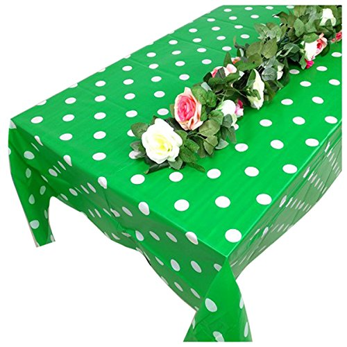 TOOGOO(R) Plastic green Polka Dot Tablecloth, 9ft x 4.5ft