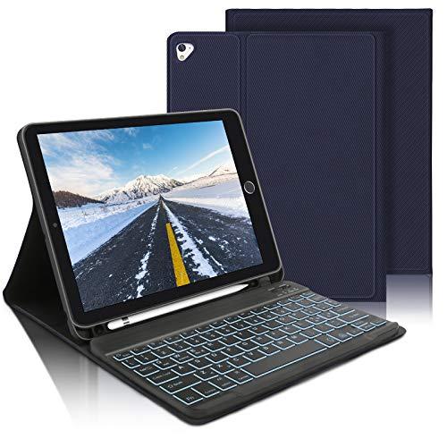 AVNICUD Funda con teclado para iPad 10,2 2020/2019 (8./7.Gen), iPad Air 3 2019/iPad Pro 10,5 2017, Bluetooth QWERTZ, teclado iluminado con funda protectora y soporte para lápiz
